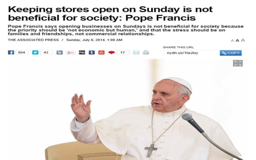Pope Francis Priming the World for the Sunday Law