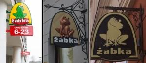 Сеть Жабка, слева обычное лого а справа вариации для Старого Мяста