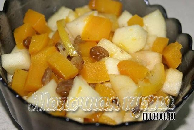 Kuru üzüm ve elma ile kabak parçaları
