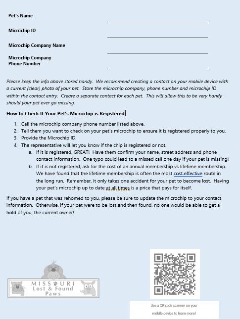 Pet Microchip Info Sheet