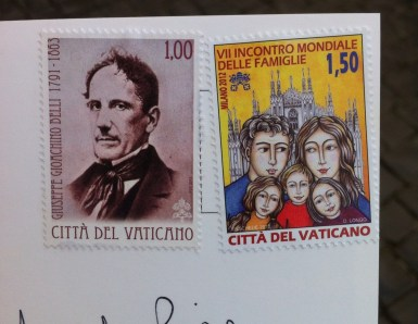 Vatican mail! Rumour has it that it's faster than the regular post.. I'm still waiting on the results.