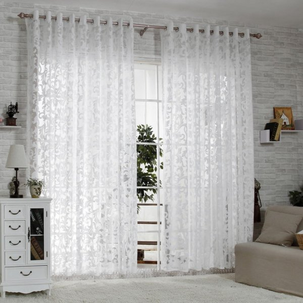 White Sheer Embroidered Curtain Panels