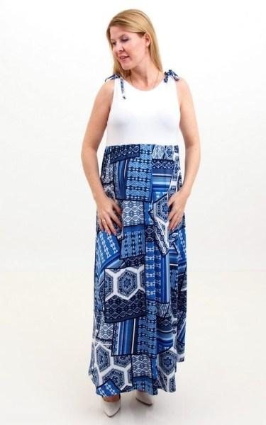 White-blue Maxi Dress