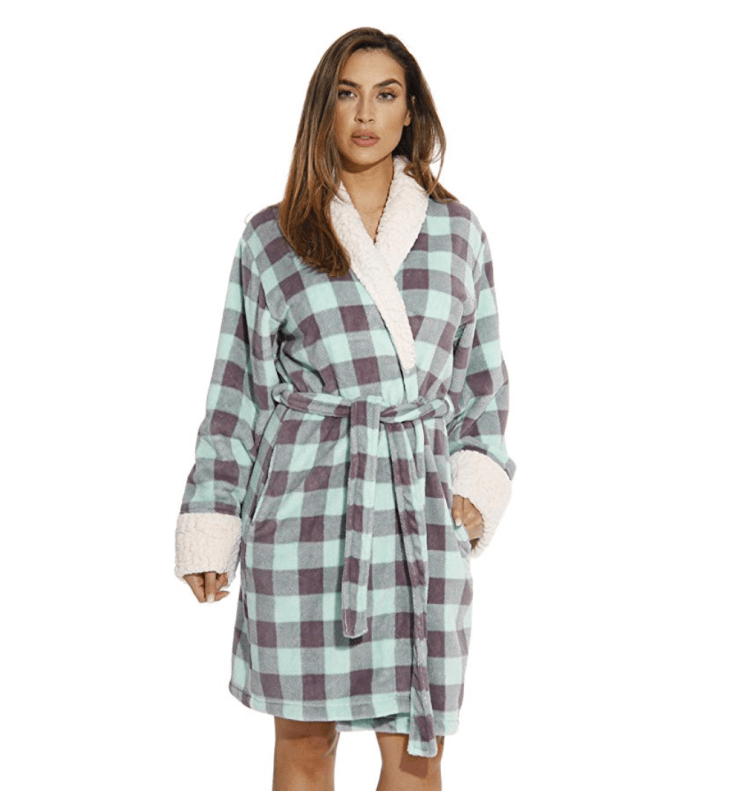 Plush Robe with Sherpa Trim