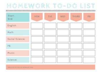 Homework To-Do List from Momalot