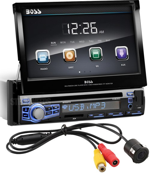 small resolution of boss audio bv9973 single din dvd mp3 cd am fm receiver with 7 motorized touchscreen monitor color changing face front panel usb sd aux inputs
