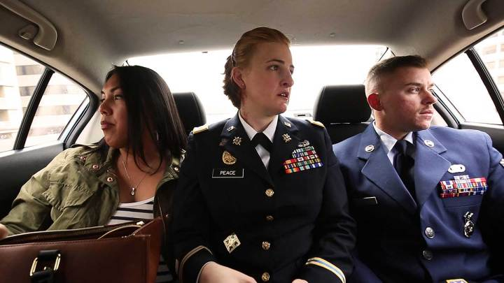 Corporal Laila Villanueva, Captain Jennifer Peace, and Senior Airman Logan Ireland - Credit: TransMilitary