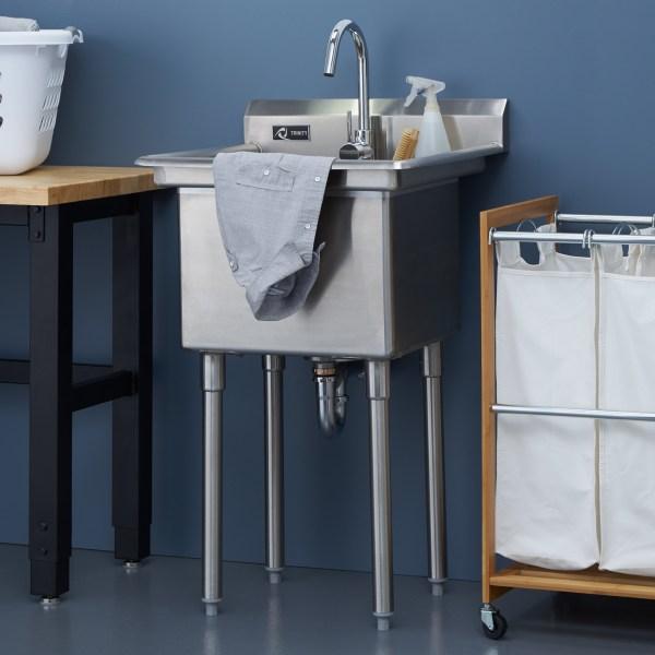 Trinity Stainless Steel Utility Sink Add Laundry Room Garage Kitchen - Mom