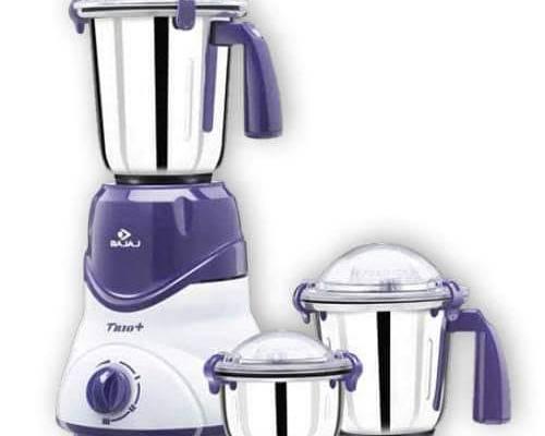 Bajaj Trio 600-Watt Mixer Grinder with 3 Jars (White/Lavender)