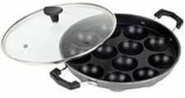 World Star appam patra 12 Cavity Side Handle with hand and with Glass Lid.