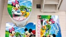 Mickey Mouse Bathroom Rug Set 3 Piece, Non Slip Bath Mat + U-Shaped Contour Rug + Toilet Lid Cover