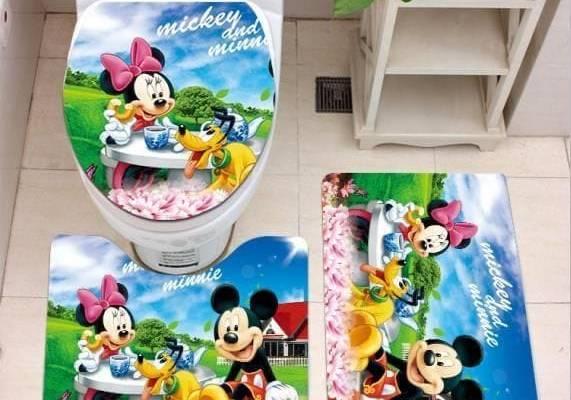 Mickey Mouse Bathroom Rug Set 3 Piece, Non Slip Bath Mat + U-Shaped Contour Rug + Toilet Lid Cover