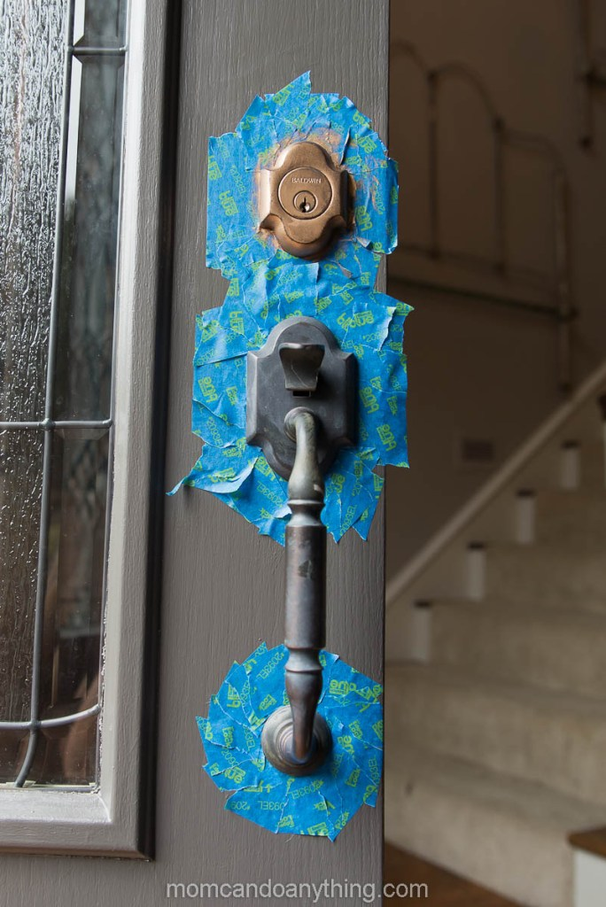 Front Door Hardware with tape