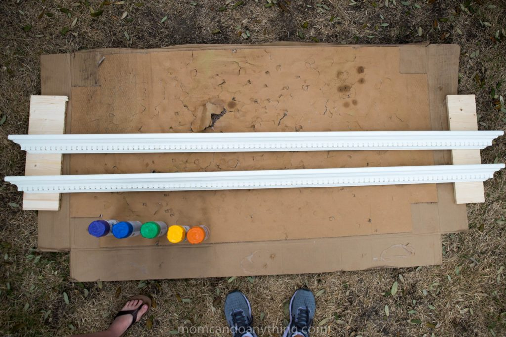Picture ledge shelves before spray paint