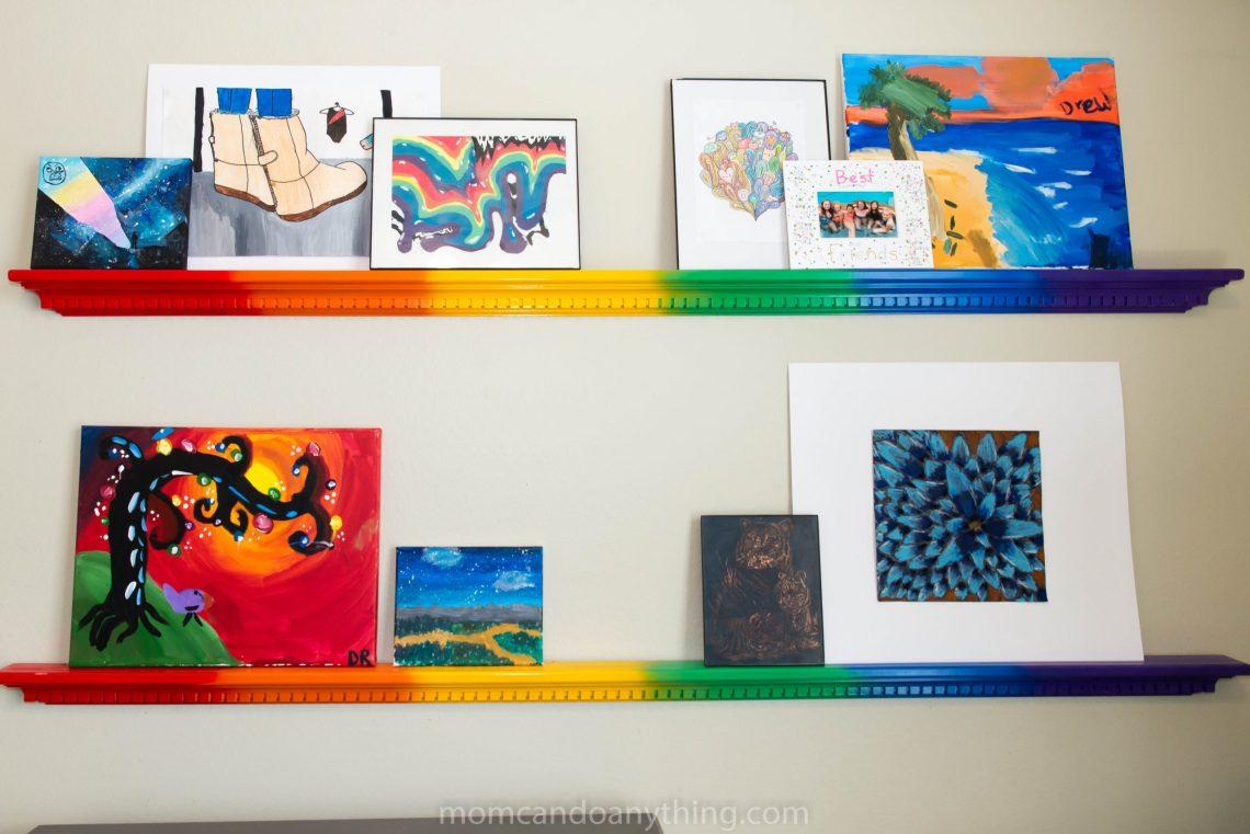 Rainbow Spray Painted Shelves
