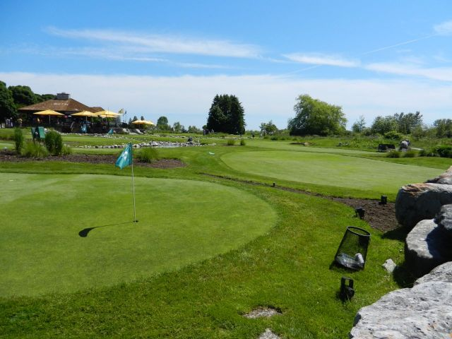 An upscale mini-golf activity. Nine holes of putting greens.