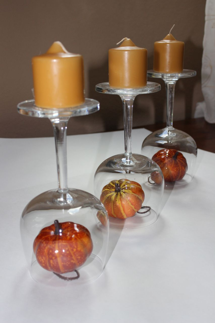 Recycled wine glasses fall wine glass centerpieces for Centerpieces made with wine glasses