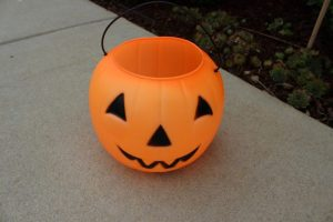 Just the inexpensive plastic Jack-o-lanterns the kids use to trick or treat with.
