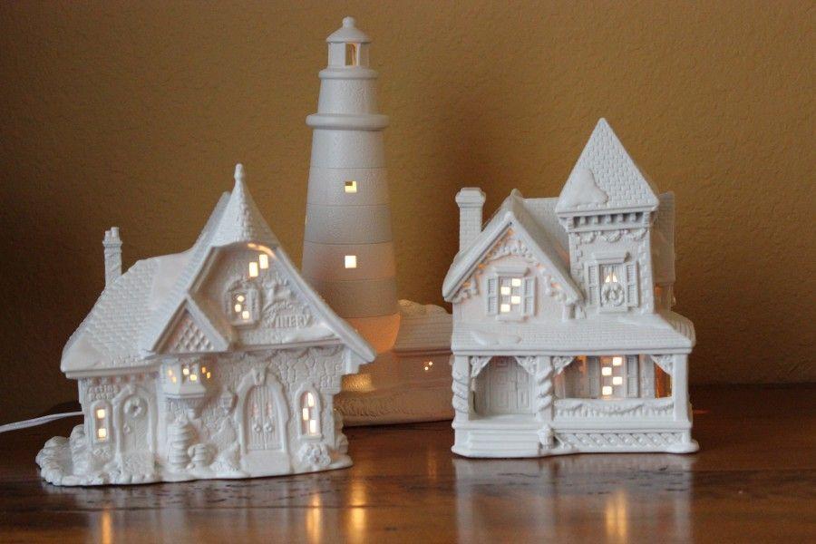 My three 'new' white Christmas houses.