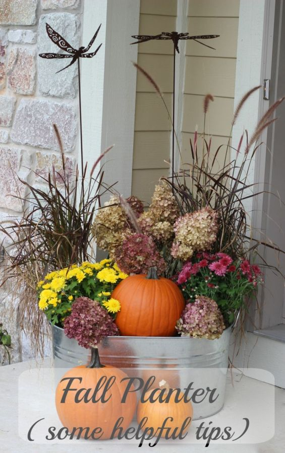 Fall planter. Reuse some things from the summer, buy a few inexpensive seasonal items and fill with some dried flowers.