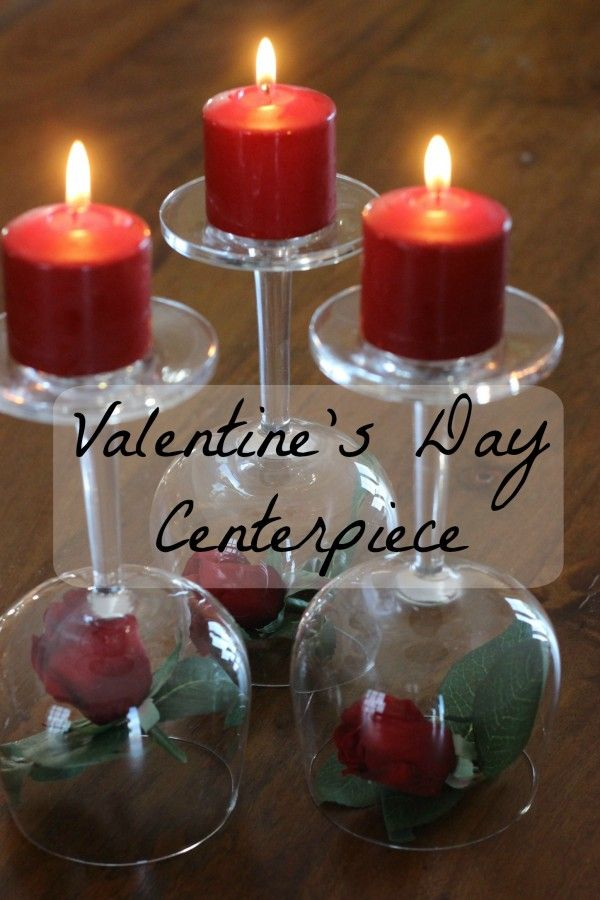 Valentines Day Centerpiece Roses Wineglasses Amp Candles