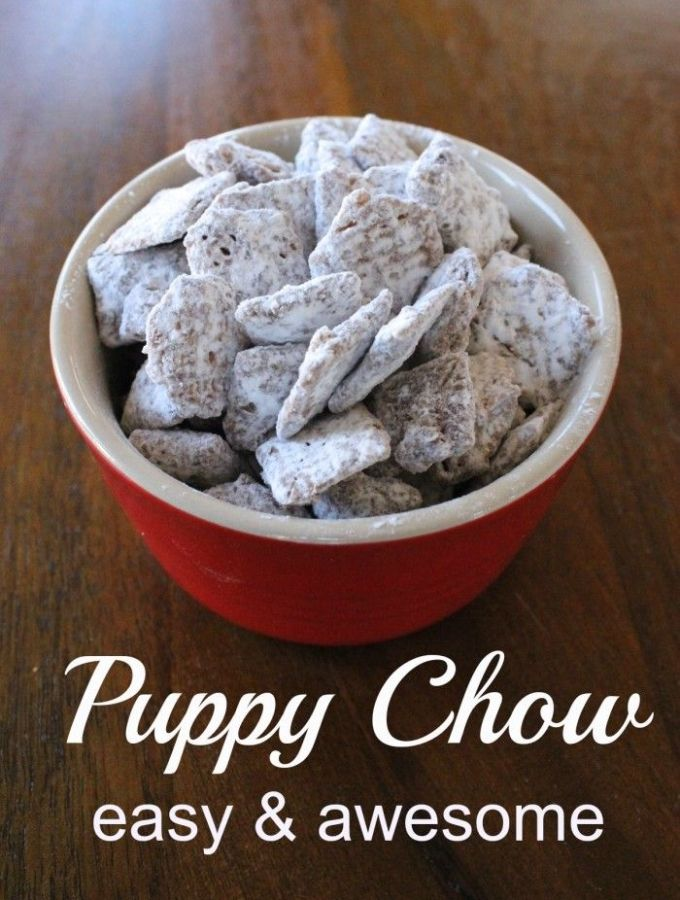 Puppy Chow – A chocolate,  peanut buttery, sweet treat!