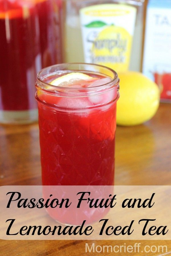 Herbal Iced Tea – Tazo Passion herbal iced tea with lemonade.