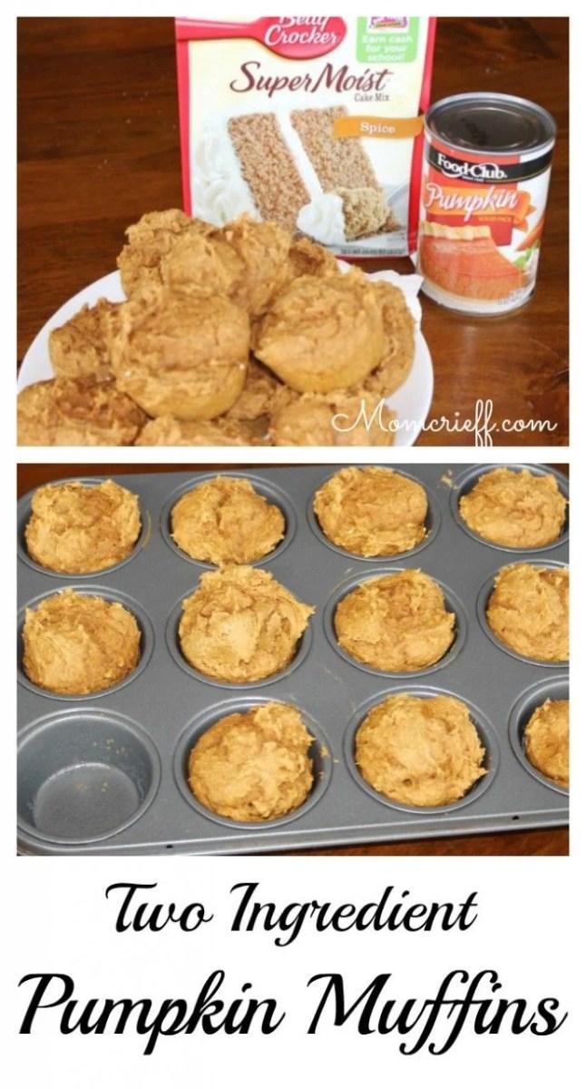 Two Ingredient Pumpkin Muffins Yellow Cake Mix