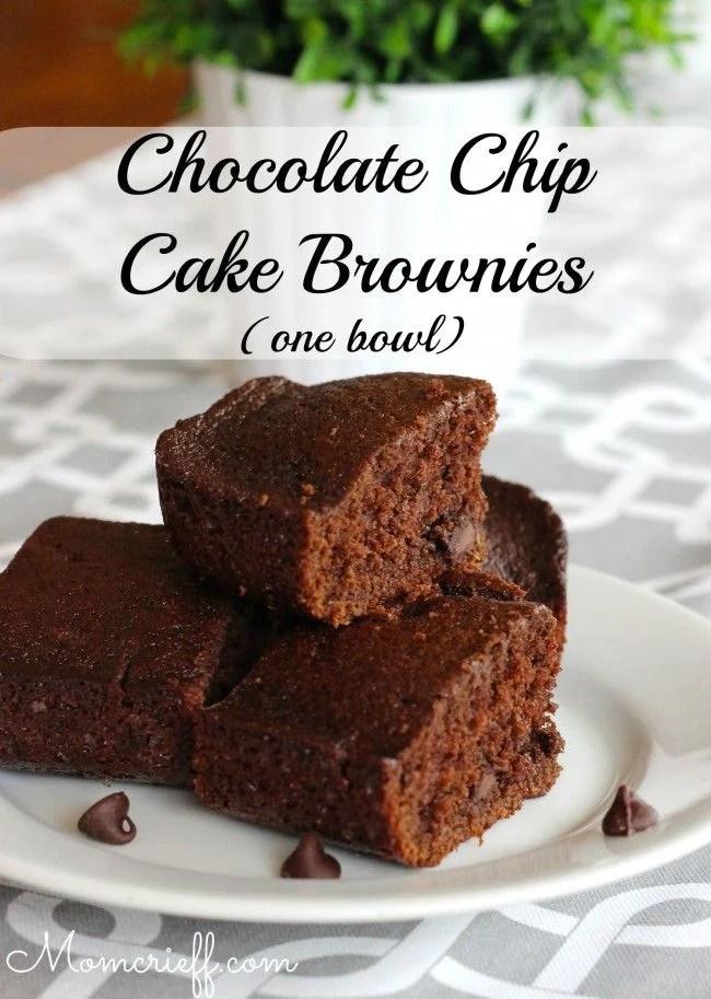 Chocolate chip cake brownies - one bowl