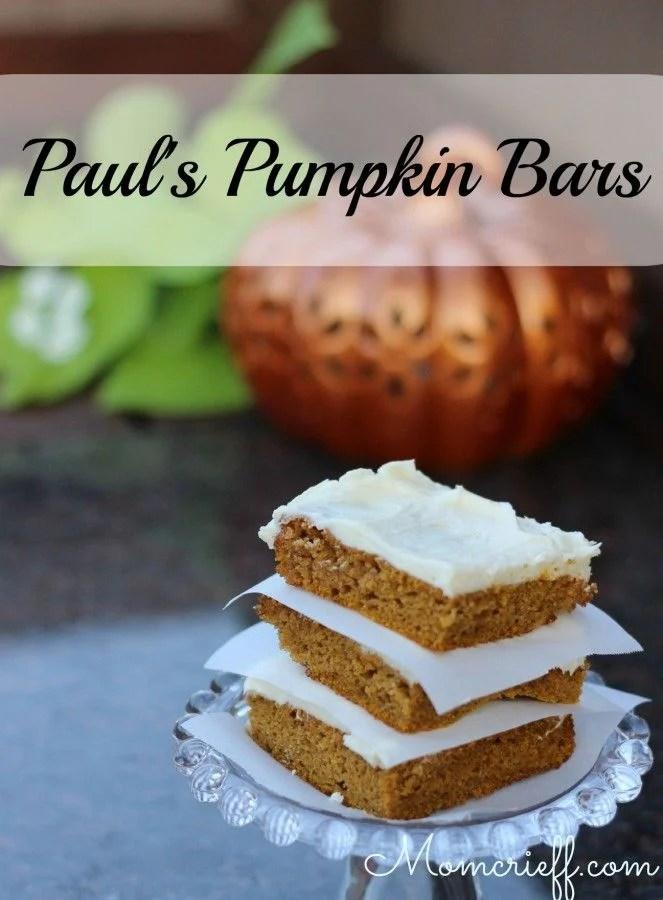 Paul's Pumpkin Bars. With cream cheese icing.