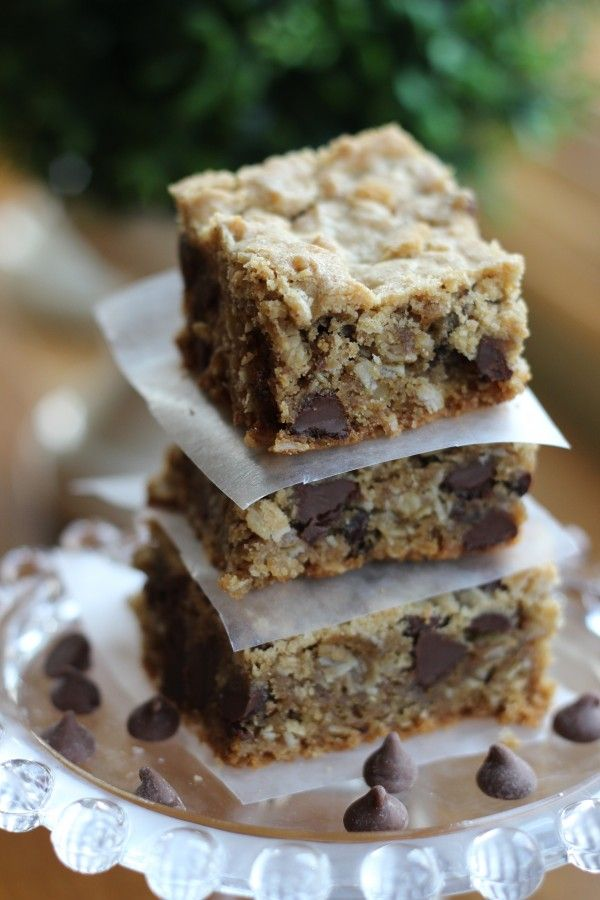 Peanut Butter Chocolate Chip Bars – with oatmeal.