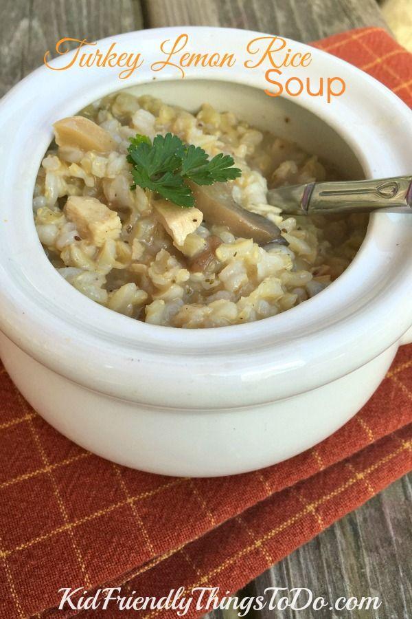 Leftover Turkey Lemon Rice Soup
