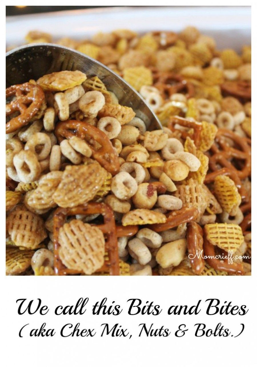 Bits and Bites - Also known as Chex Mix and Nuts and Bolts.