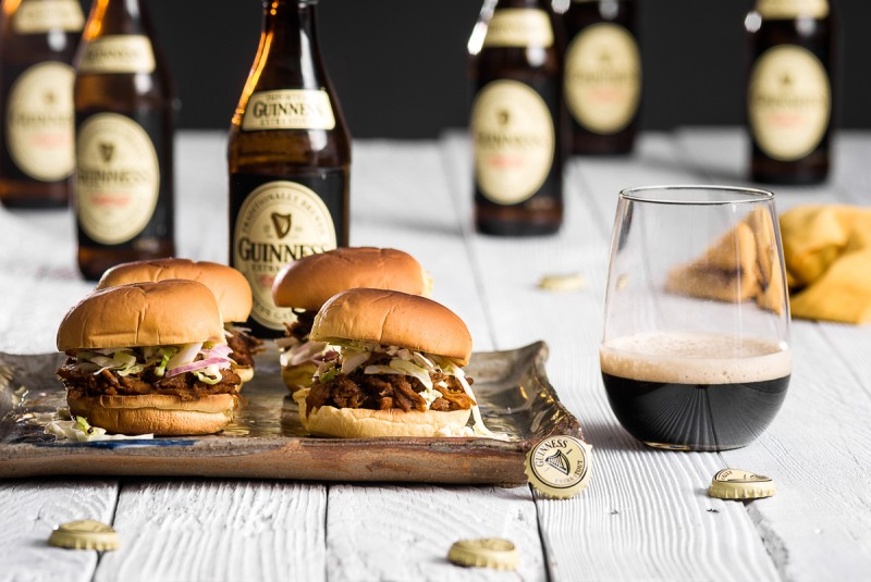 St. Patrick's Day Guiness-Pulled Pork Sliders