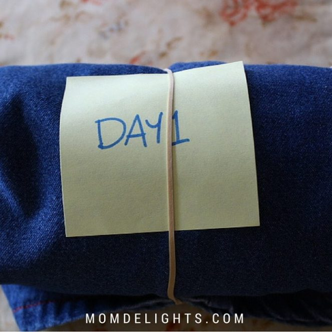 label with the day and or time the outfit will be worn