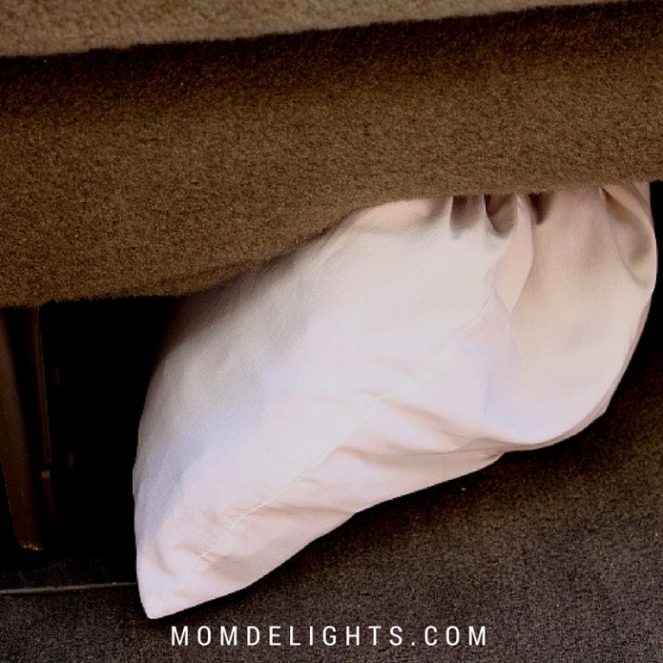 place pillowcases under the seats of your car or van