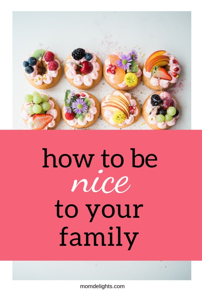 "A picture of donuts decorated with fruit and cream and the titles, ""How to be nice to your family."""