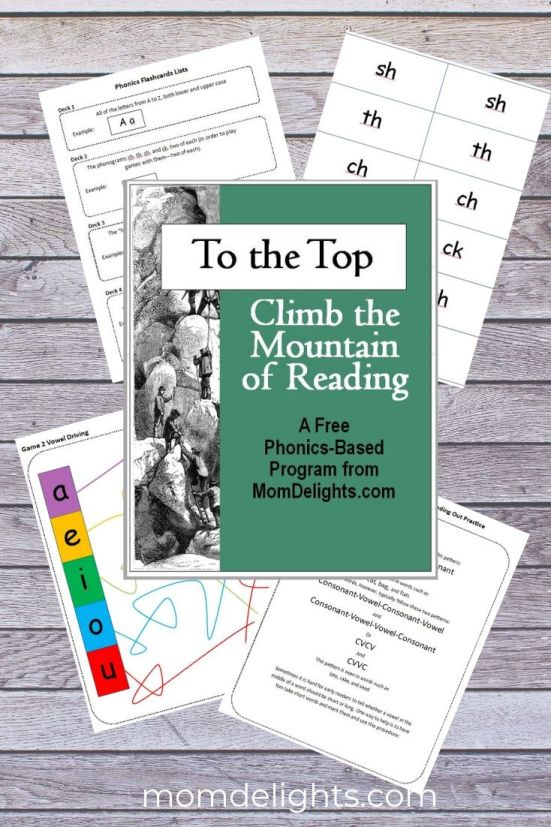 This is a graphic showing the cover and sample pages from the pdf for To the Top Free Phonics-based Reading Program