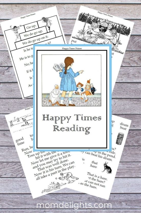 Graphic with cover and samples from the free primer for the To the Top free phonics-based reading program from MomDelights.com