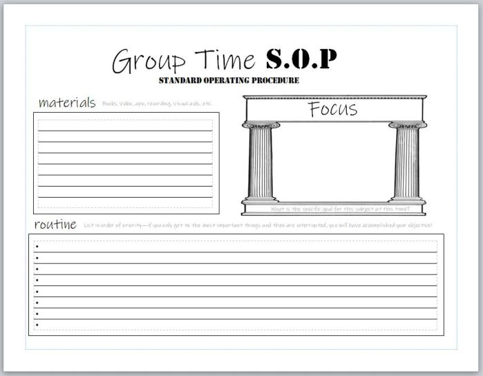 A preview of blank homeschool assignment sheets and SOP's