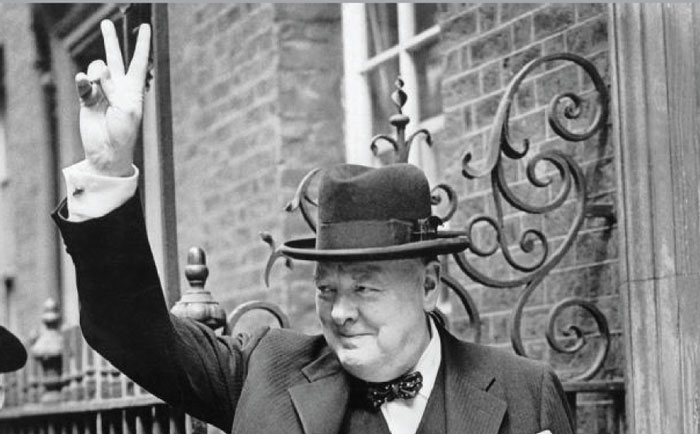 Winston Churchill Waving