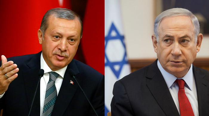 Netanyahu and Recep Tayyip Erdoğan with Israeli and Turkish flags