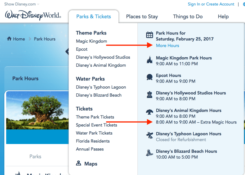 Extra Magic Hours on Disney website