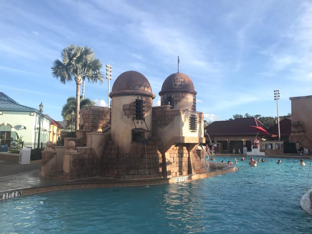 Caribbean Beach Pool Spanish Fort at Disney World Resorts