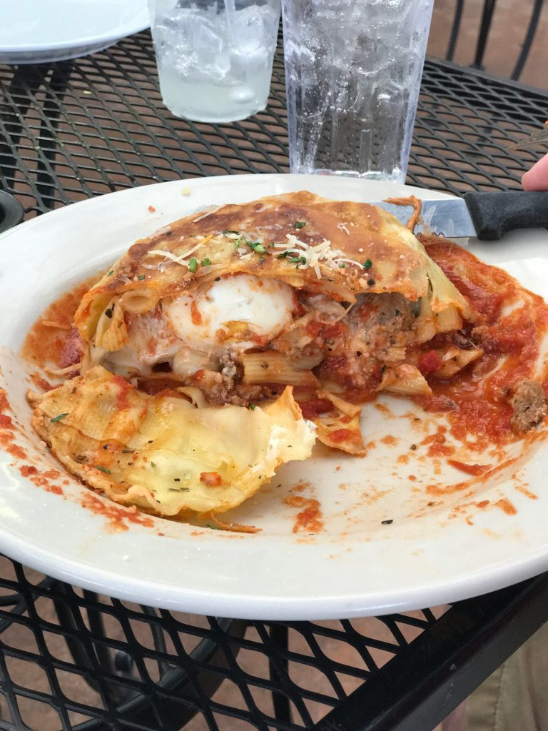 Timpano cut open at Coco's Italian Market