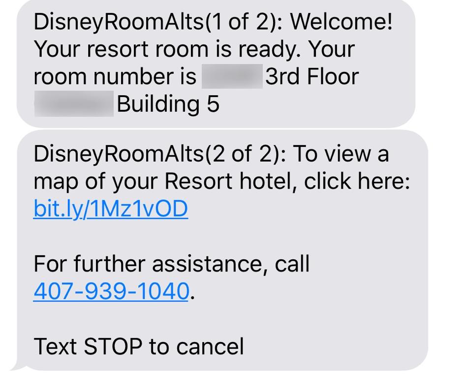 Mydisneyexpereince app room text