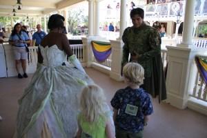 Princess Tiana and Naveen at PhotoPass