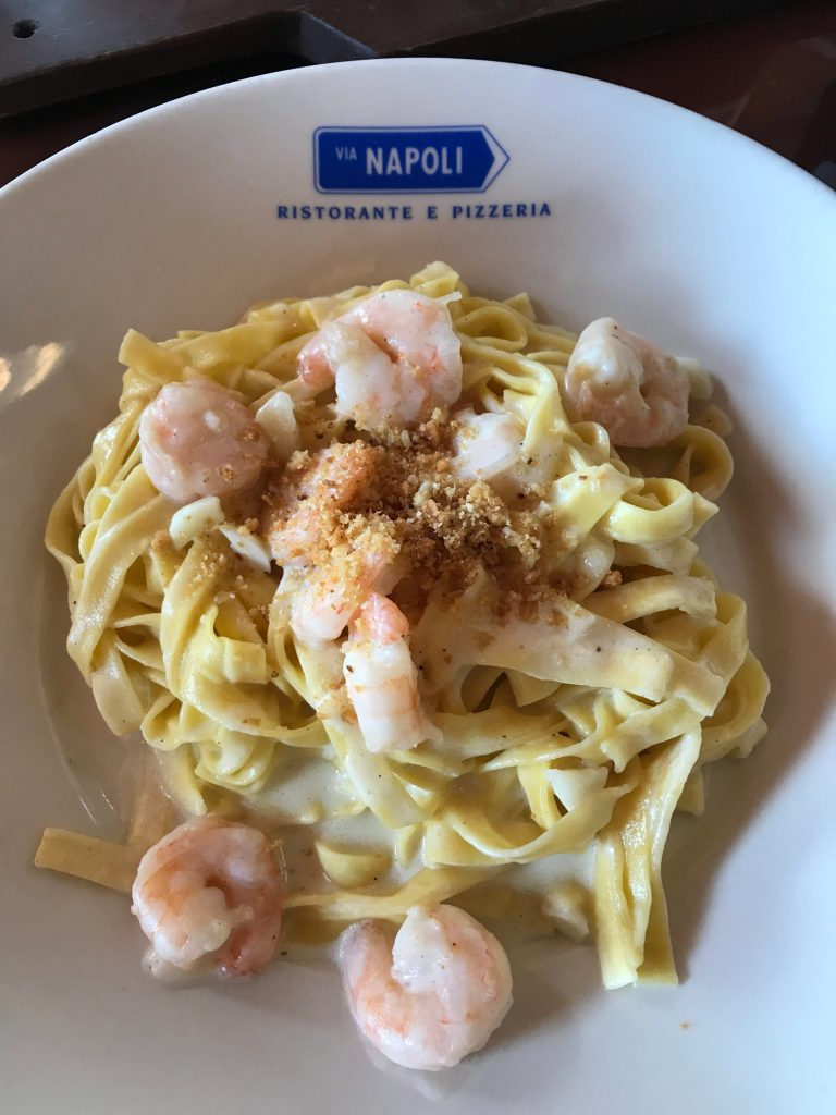 Shrimp Alfredo at Via Napoli