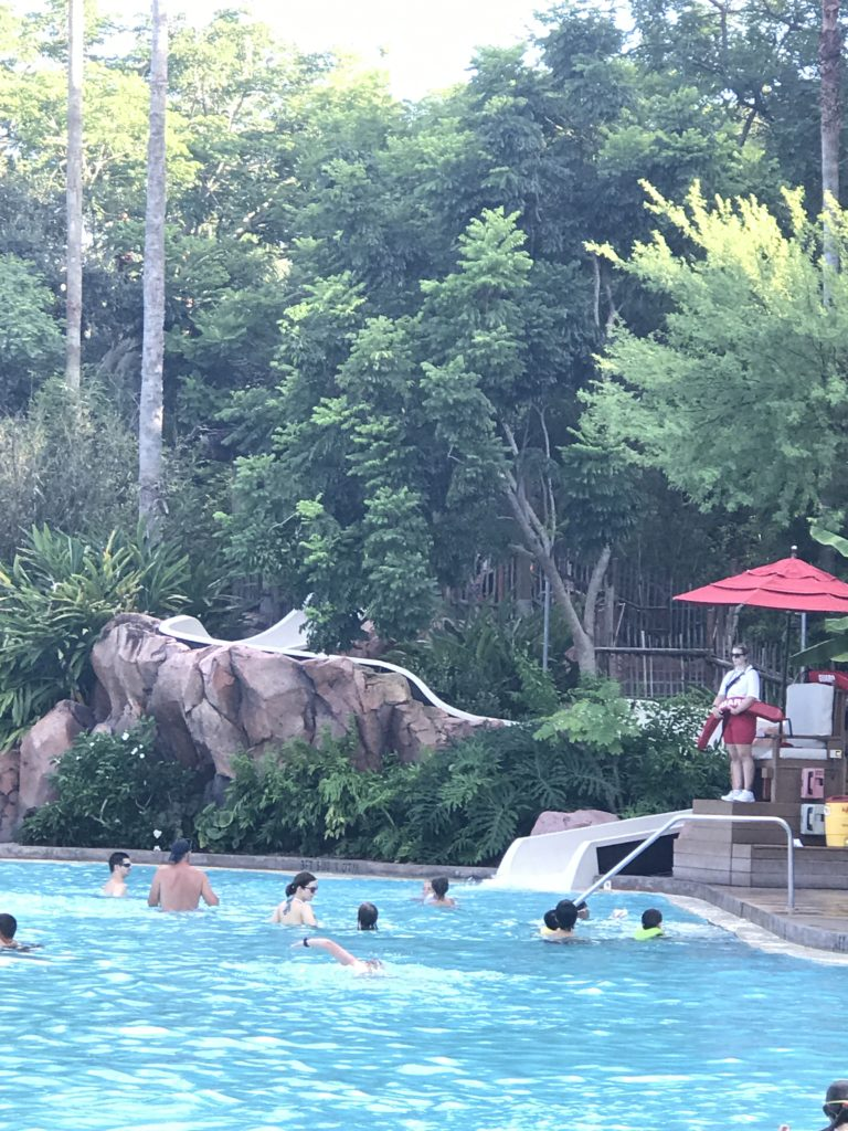 waterslide at the pool at Animal Kingdom Lodge