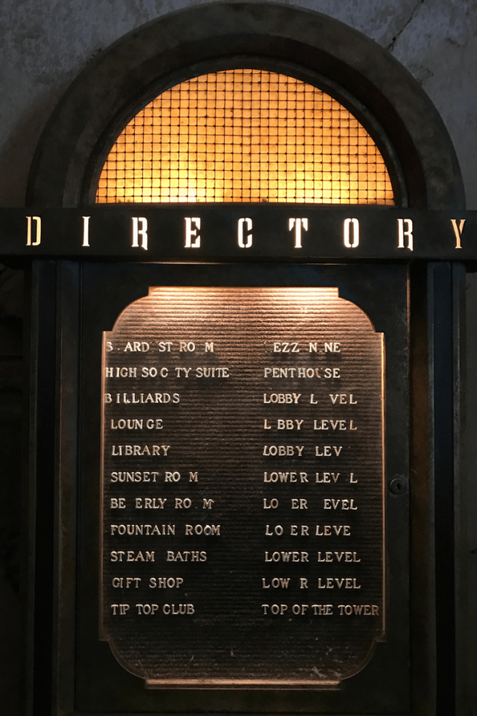 Tower of Terror Directory Sign Hollywood studios